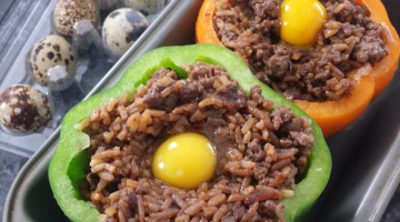 Asian Stuffed Bell Peppers With Quail Eggs